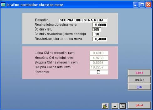 Primer izračuna skupne obrestne mere